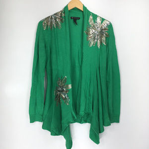 INC L Sweater Cardigan Green Open Front Sequin